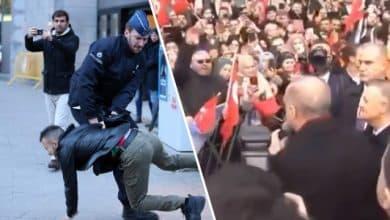 صورة الرئيس التركي أردوغان يصل الي بروكسل في بلجيكا ويثير غضب المظاهرات المعارضة له