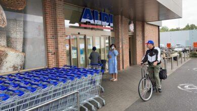 صورة اغلاق متجر ألدي في مدينة مينين بسبب اصابة موظف بفيروس كورونا