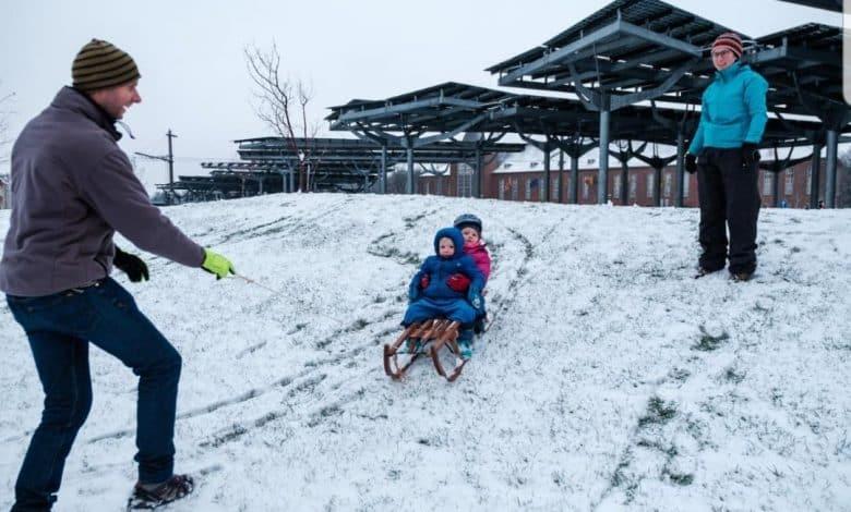 سقوط الثلوج في بلجيكا اليوم