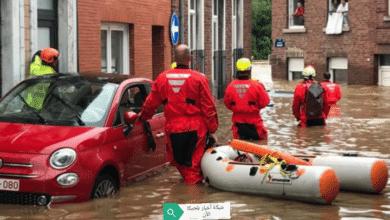 انقلاب قارب إنقاذ في بلجيكا وفقدان 3 أشخاص بسبب الأمطار الغزيرة