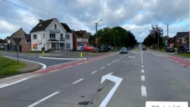 رسم علامات الطريق في بلجيكا اليوم بشكل خاطئ