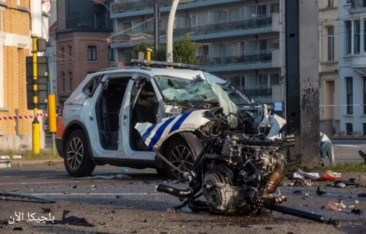 اصابة ضابطان شرطة في مدينة جنت بعد اصطدام سيارتان شرطة ببعضهما