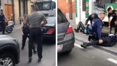 رجل يهاجم افراد الشرطة في بروكسل بلجيكا